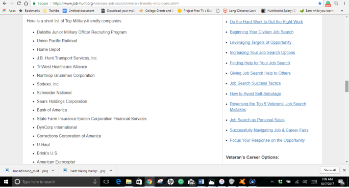 A snapshot from Job-Hut.org of companies hiring veterans now.