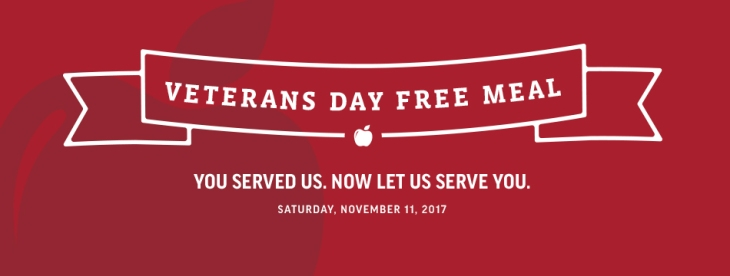 Applebees Veterans Day 2017 free meals